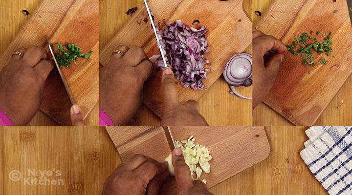 cutting the herbs
