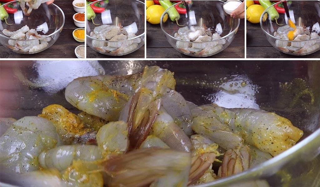 marinating the prawns